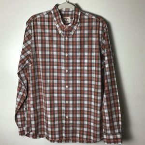 Brooks Brothers red plaid cotton button down. L